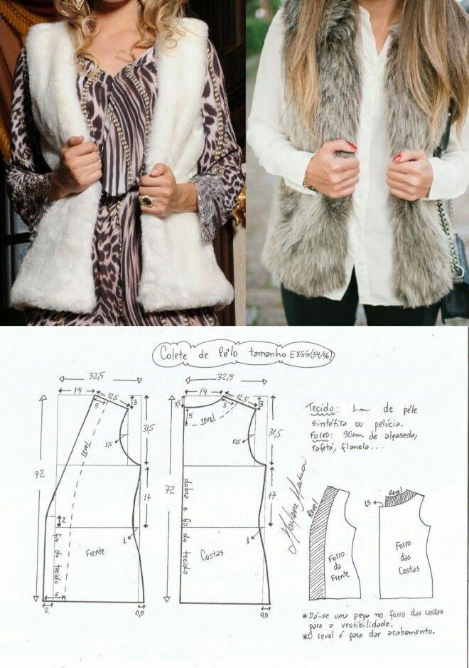 Fur vest...<3 Deniz <3 | costura | Pinterest | Costura, Molde y Patrones
