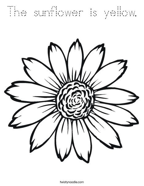 The Sunflower Is Yellow Coloring Page Tracing Twisty Noodle Sunflower Coloring Pages Printable Flower Coloring Pages Coloring Pages