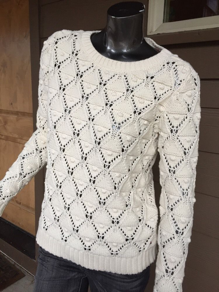 e6ed054f13 women s Tommy Hilfiger Med Ivory Open Weave Sweater Mint Free Ship ...