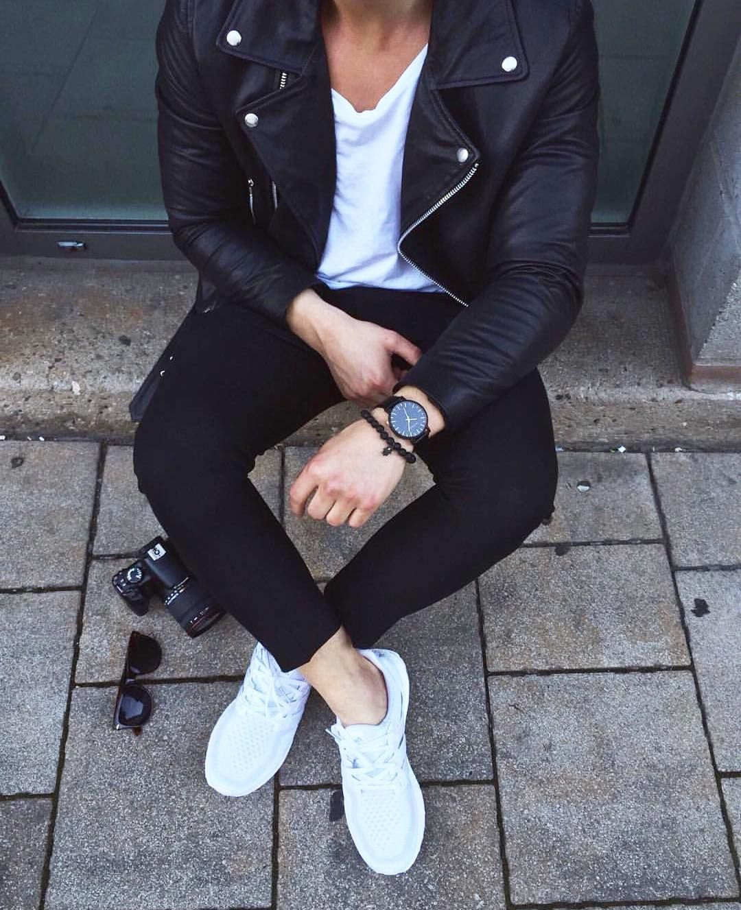 Leather jacket instagram - Black Leather Jacket Black Pants And Adidas Sneakers Http Ift