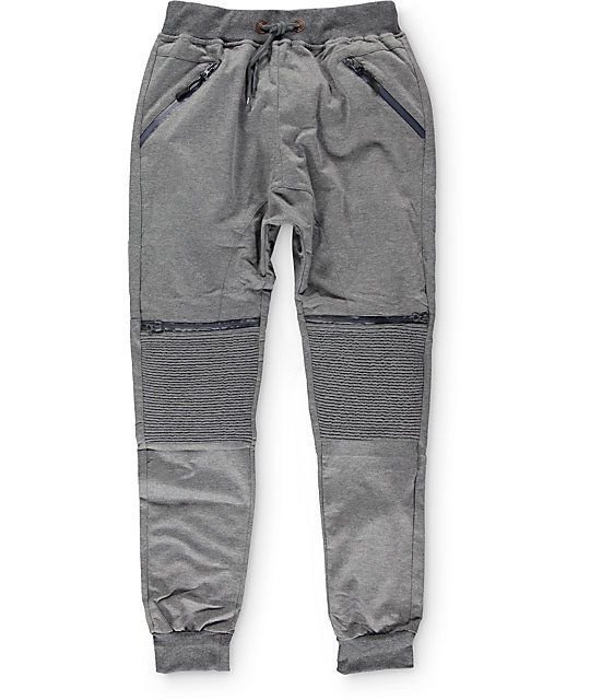 5c3e14e97594 Get your jogger game on point with a unique stacked moto stitched knee  panel plus faux waterproof zippers on the knees and a gusseted drop crotch  in a ...