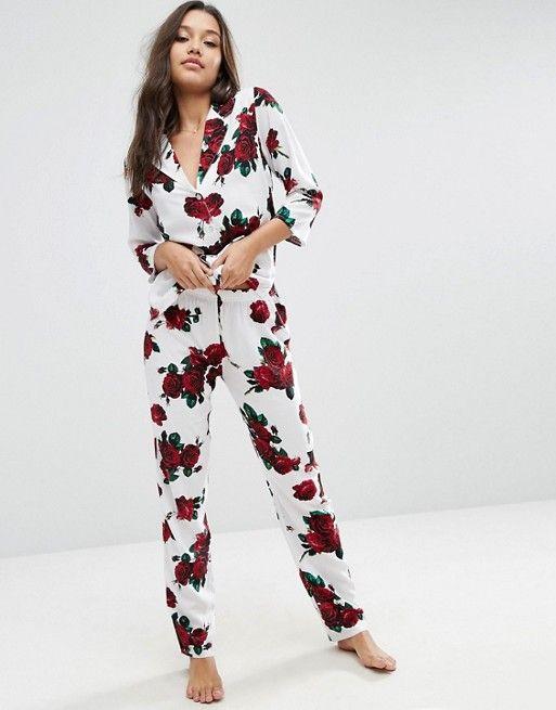 c60872e802bd0 ASOS Romantic Rose Traditional Pajama Set. I love this pair of pajamas.  White with roses perfect!