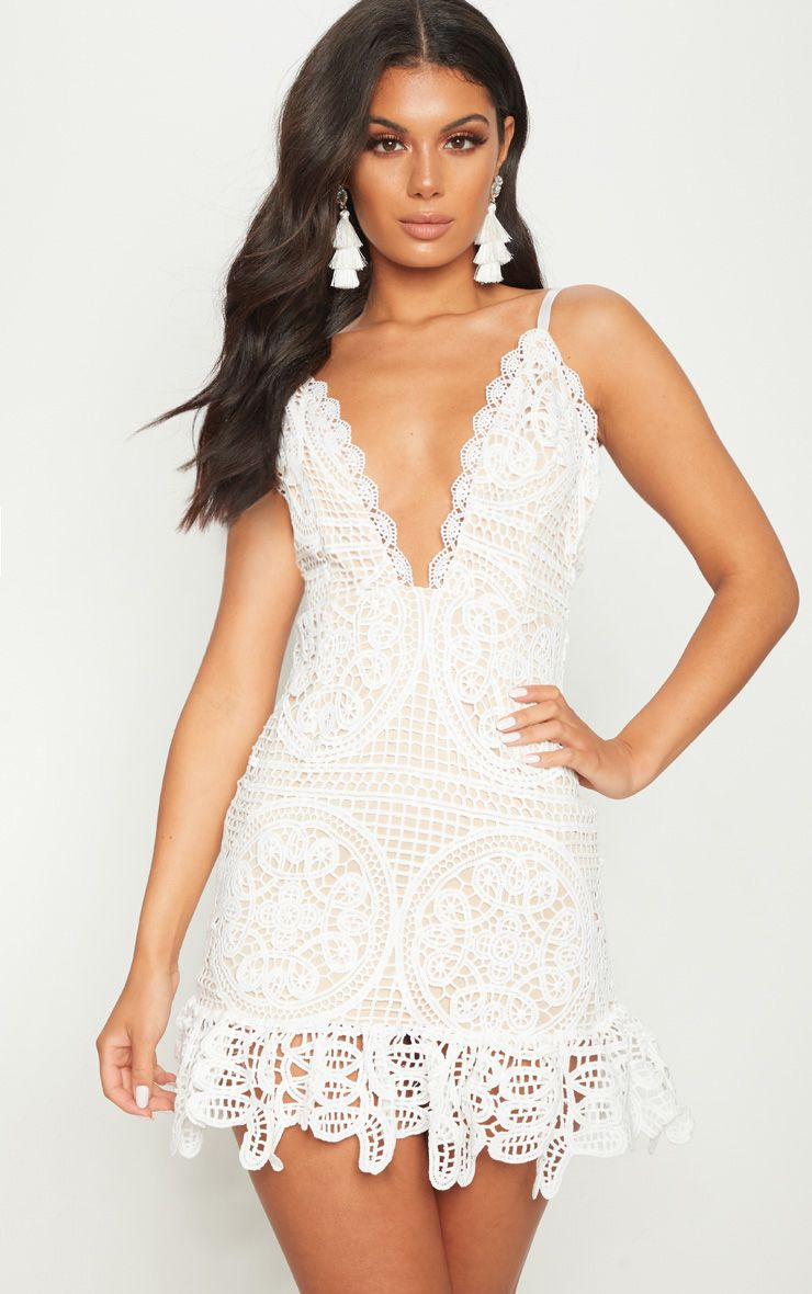 faf88cf2bee White Strappy Thick Lace Frill Hem Bodycon Dress in 2019