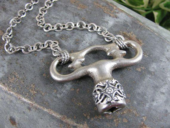 Antique Radiator Key Pendant Necklace