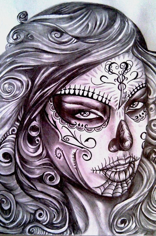 Sexy Day of the Dead Girl Drawing