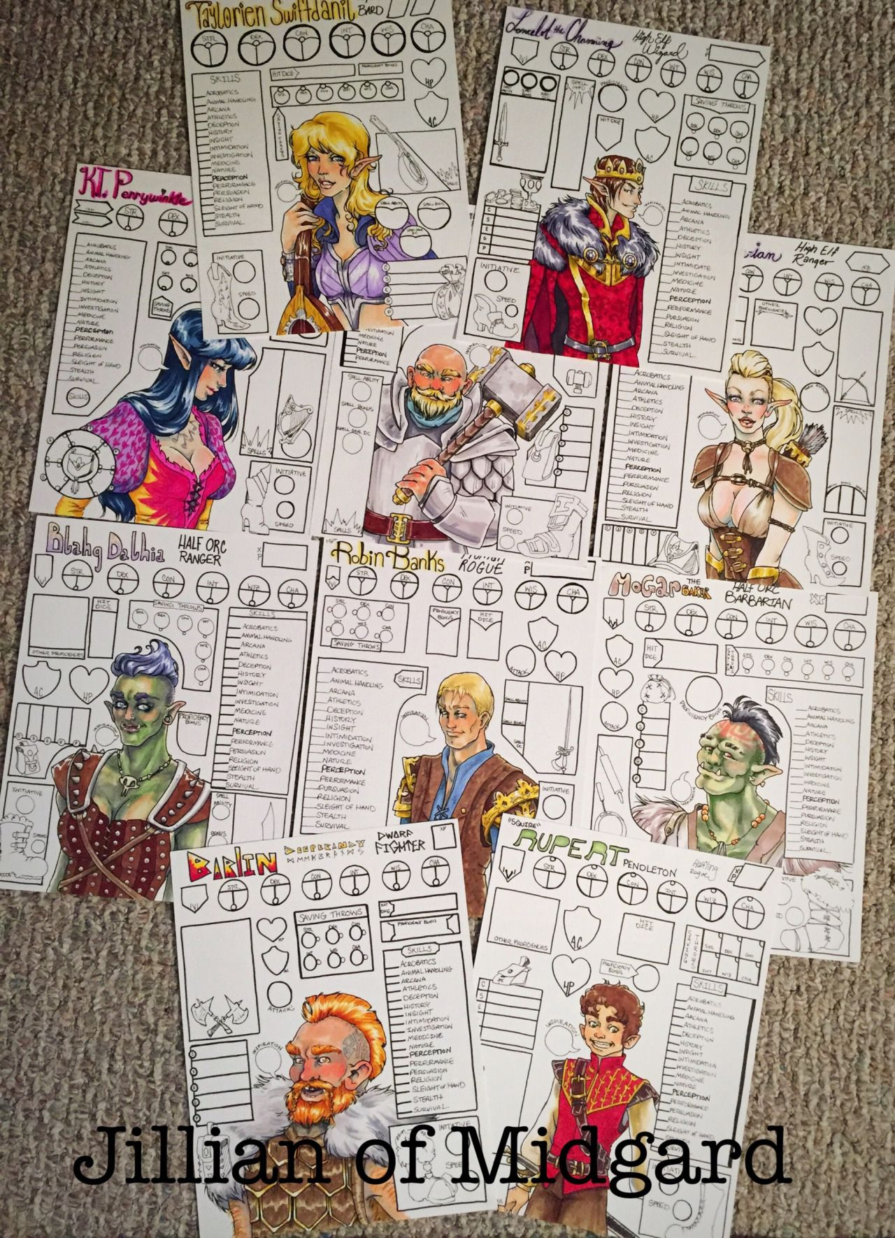 Character Design D D : Custom dungeons dragons character sheets jillian made