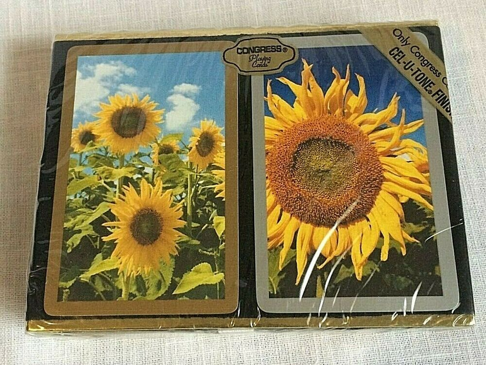 Details about congress playing cards sunflowers flower