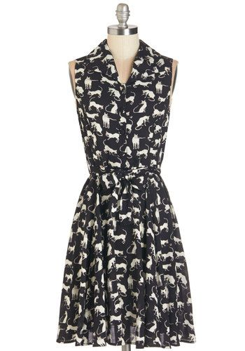 Hither and Yarn Dress - Print with Animals, Casual, Cats, A-line, Sleeveless, Woven, Mid-length, Shirt Dress, Exclusives, Black, Buttons, Belted, Critters, Sheer, Collared, White