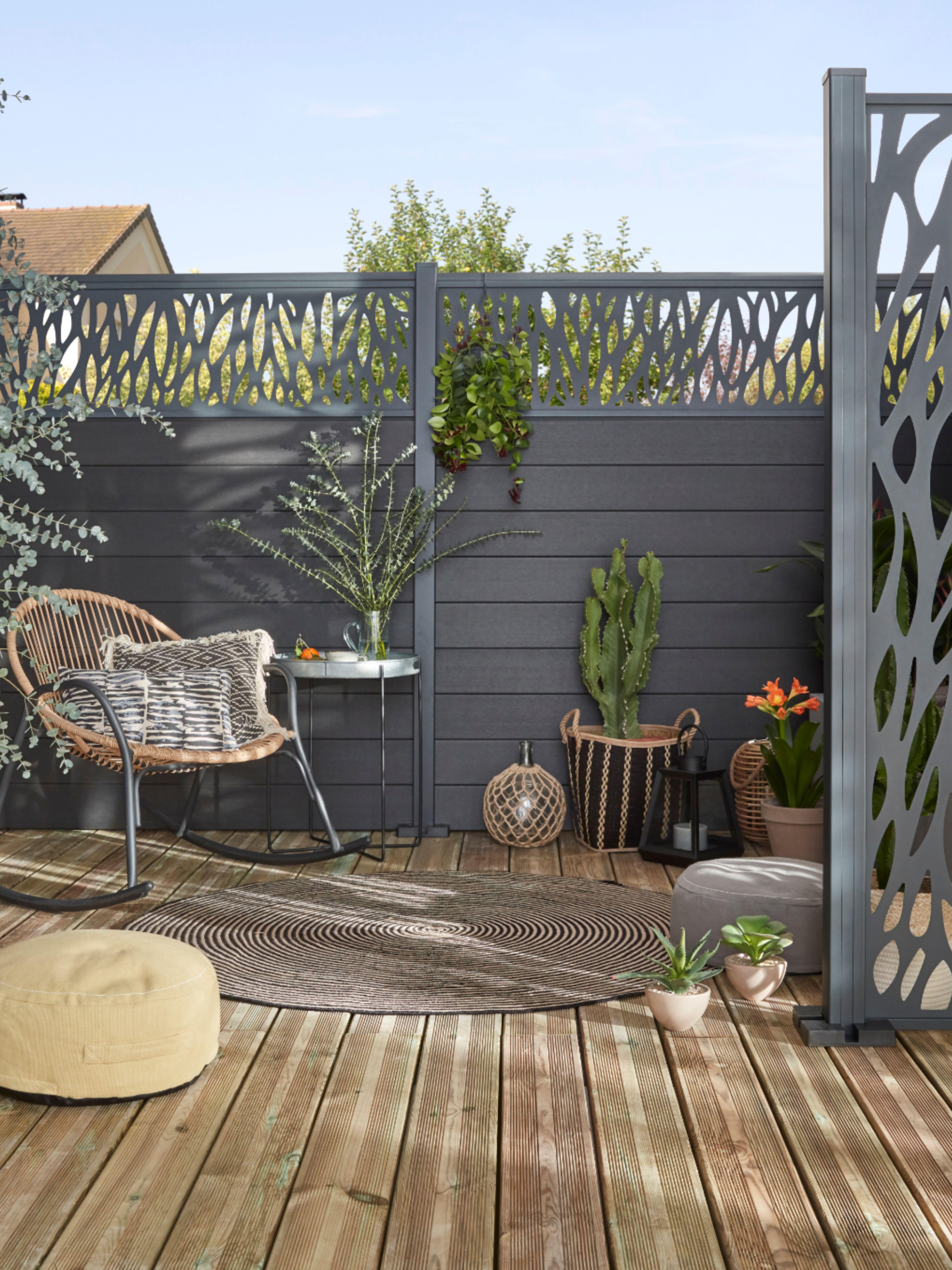 Lame De Cloture Composite Neva Anthracite Lot De 3 Lames En 2020 Panneau Decoratif Jardin Deco Mur Exterieur Jardin Deco Terrasse