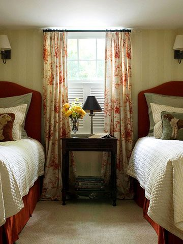 Basement Bedroom. Window Treatment Hides Egress Window And Gives Illusion  Of A Full Window W/ Blinds.