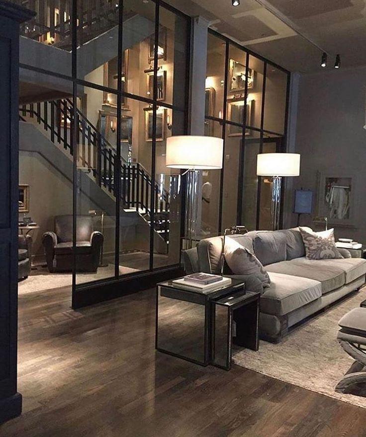 luxuriöses Wohnzimmer | loft Wohnung einrichten | dunkles Wohnzimmer dekorieren