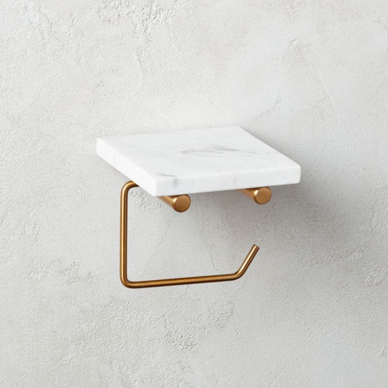 White Marble Wall Mounted Toilet Paper Holder With Shelf Reviews Cb2 In 2020 Brass Toilet Paper Holder Wall Mounted Toilet Toilet Paper Holder