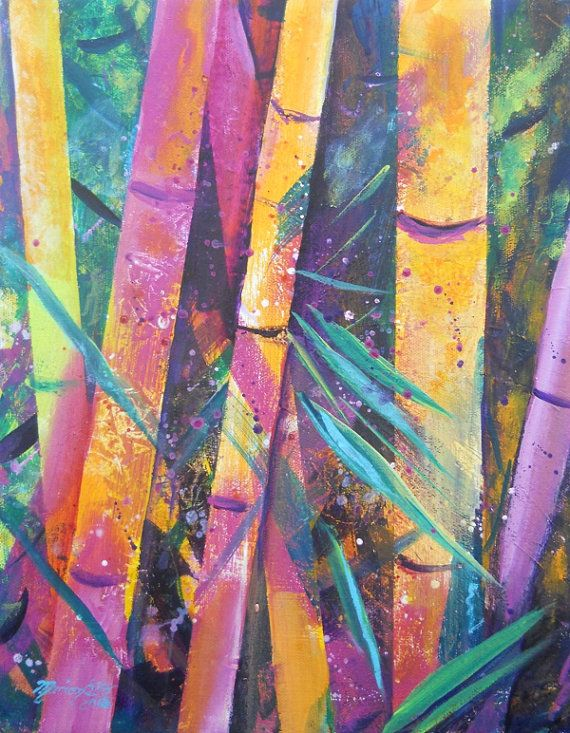 Whimsical Bamboo 1 Original Acrylic Painting from Kauai Hawaii by
