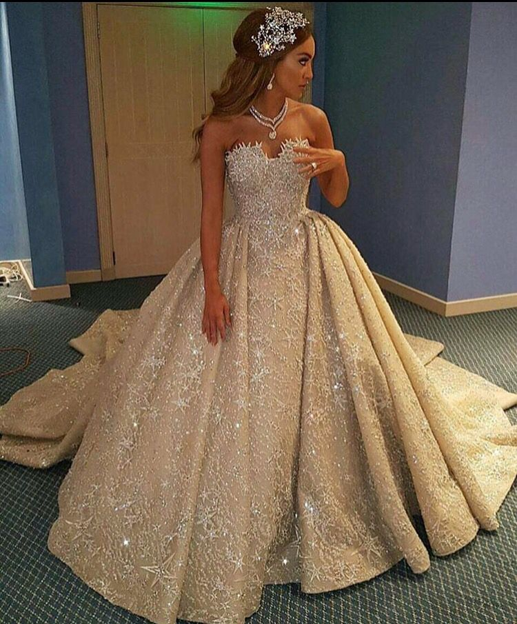 Sparkly Bride Wedding Ball Gowns Champagne Dresses Dress For