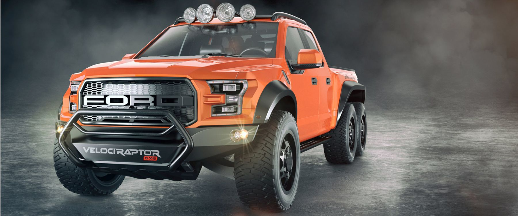 ford + hennessey velociraptor 6x6: six wheels and 650 horsepower