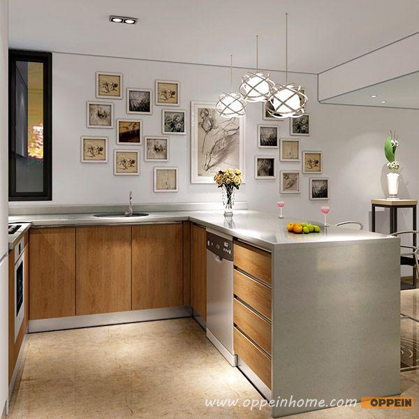 OP16-L05: Modern White Matte Lacquer and Wood Grain Melamine Kitchen ...