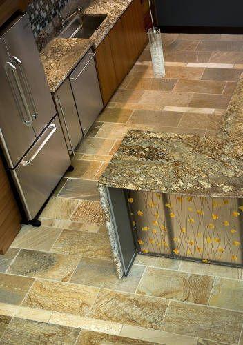 Sienna Bordeaux Granite Kitchen Countertop And Copper Bay Pattern Flagstone Interior Floor