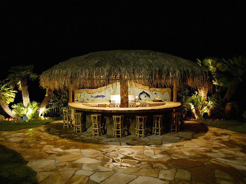 Backyard Tiki Hut With 12 Foot Palapa Umbrella Roof At NightCall Toll Free: