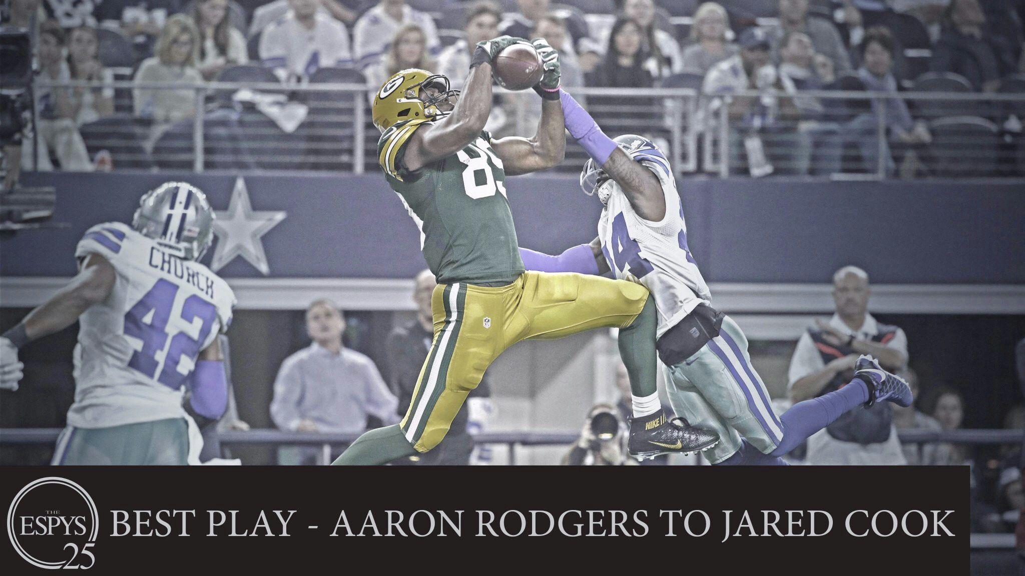 Aaron Rodgers Jared Cook 2017 Espy Winners For Best Play Jared Cook Aaron Rodgers Green Bay Packers