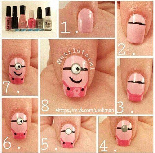 Como pintar uñas en forma de minions rosa