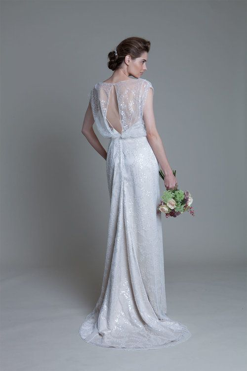 e53850bc Back view of the Lydia sequin ivory bridal wedding dress by Halfpenny London
