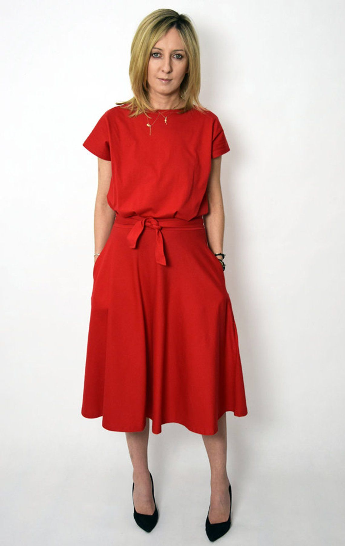 LUCY - Midi Flared Baumwolle Kleid aus Polen / handgemachte Kleid