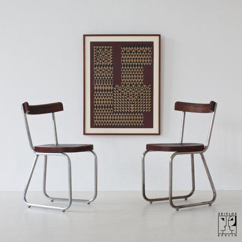 zwei seltene stahlrohr st hle von thonet bild 1. Black Bedroom Furniture Sets. Home Design Ideas