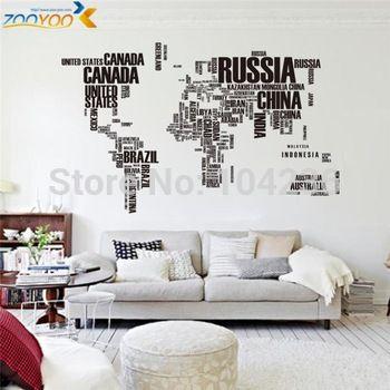 Grote 190cm*116cm wereldkaart muurstickers zooyoo95ab originele ...