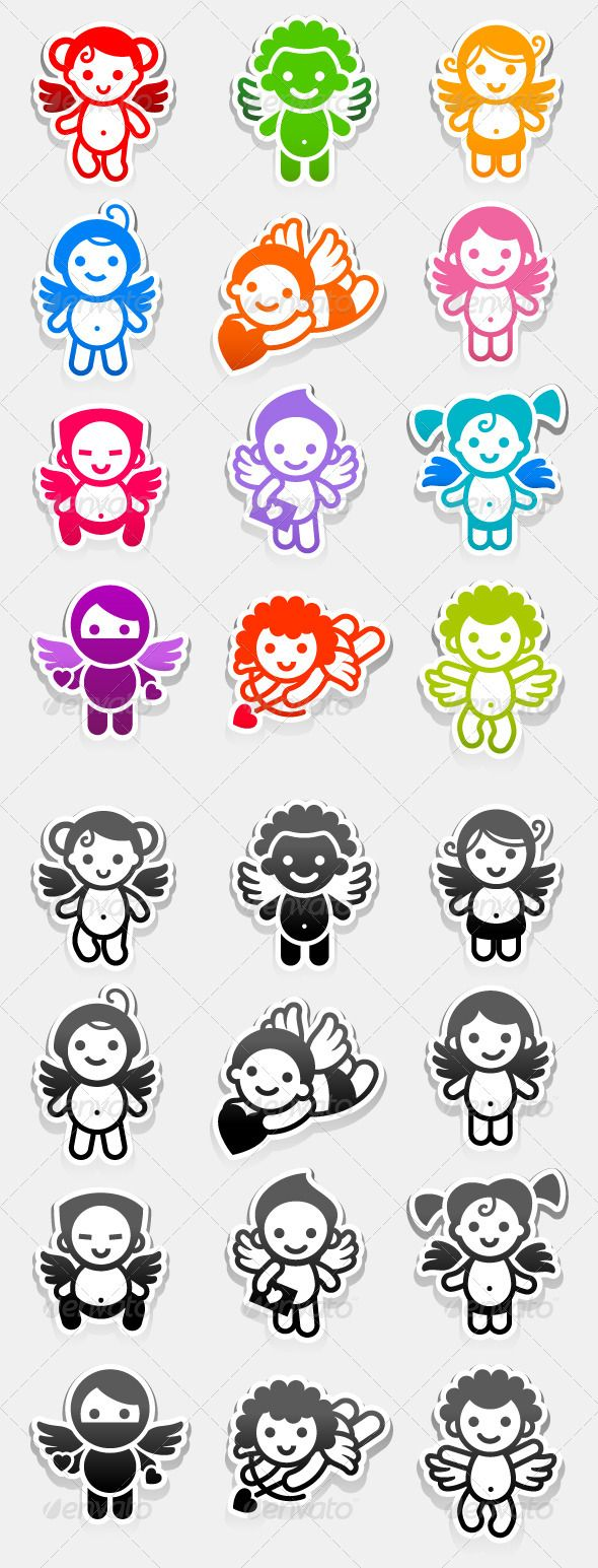 Colored stickers angels. Set romance vector icons. Marriage symbols collection Attached ZIP folder contains: ? These are editable
