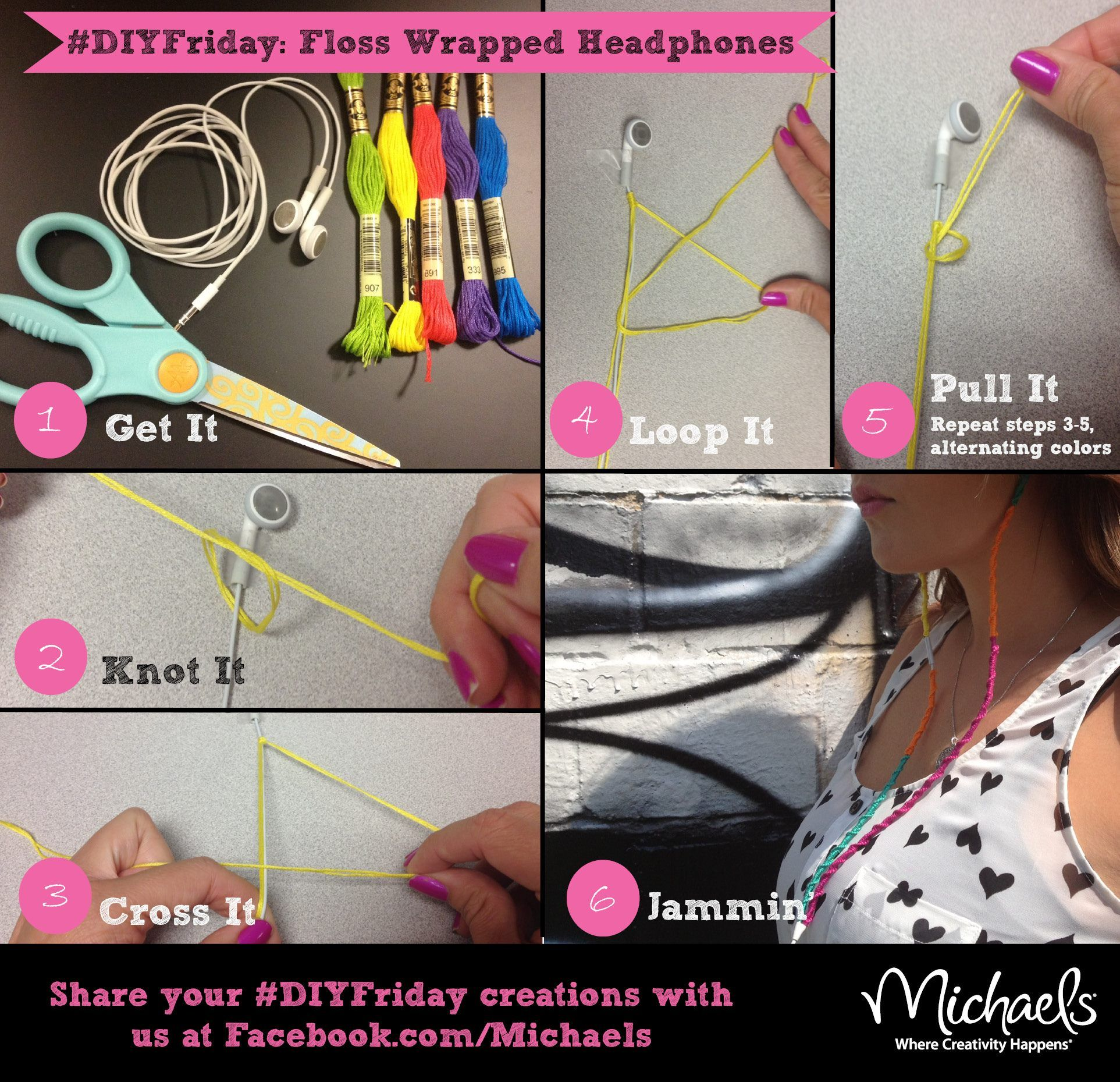 Michaels Diy Floss Wrapped Headphones Clever Crafts Pinterest