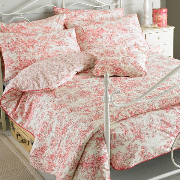 Paoletti Canterbury Tales Toile De Jouy Pure Cotton Duvet Cover Set Pink Double