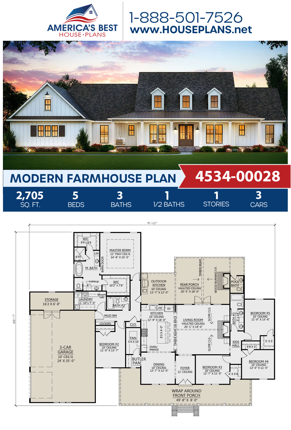 House Plan 4534 00028 Modern Farmhouse Plan 2 705 Square Feet 5 Bedrooms 3 5 Bathrooms House Blueprints Modern Farmhouse Plans House Plans Farmhouse
