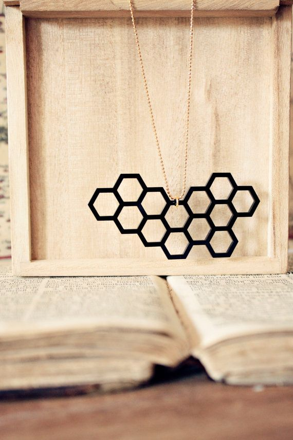 Honeycomb Geometric necklace in COAL  Modern by StrangelyYours, $17.90
