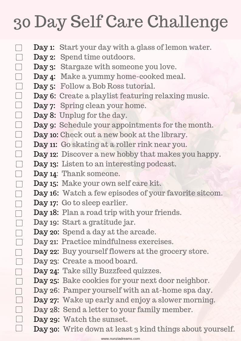 30 Days of Self Care Challenge + Printable Checklist