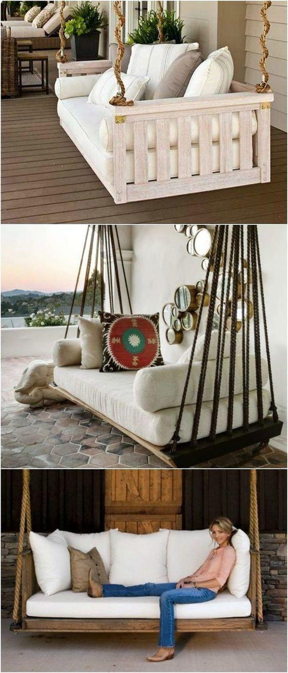 h ngebett selber bauen 44 diy ideen f r bett aus paletten im garten hanging decor pinterest. Black Bedroom Furniture Sets. Home Design Ideas