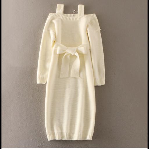 فساتين شتوية باكمام طويلة منخفضة أنيقة فساتين صوف ثقيل من صوف التريكو المحيوك فساتين سادة متوفرة بثلاثة ألوان مختلف Winter Dresses Dresses Fashion