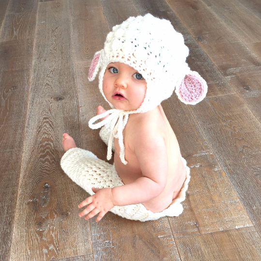 397df3a2547 Crochet Baby Lamb Bonnet Beanie Hat Pants Diaper Cover Set Infant Newborn  Baby Handmade Photography Photo Prop Baby Shower Gift Present Spring Easter