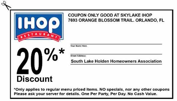 IHOP Coupons 2013 20 Discount Only applies to regular menu priced