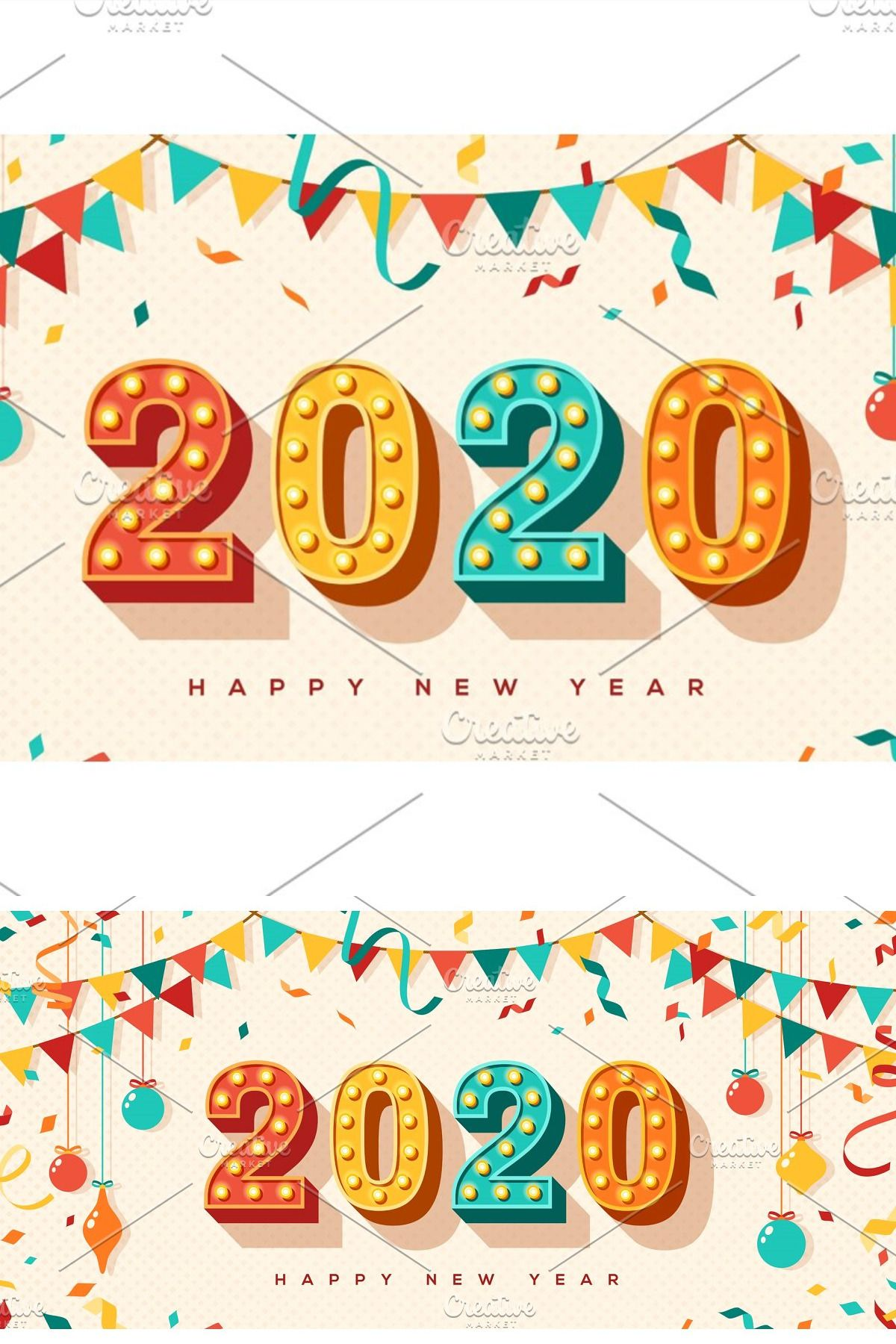 Happy New Year Card Or Banner With Typography Design