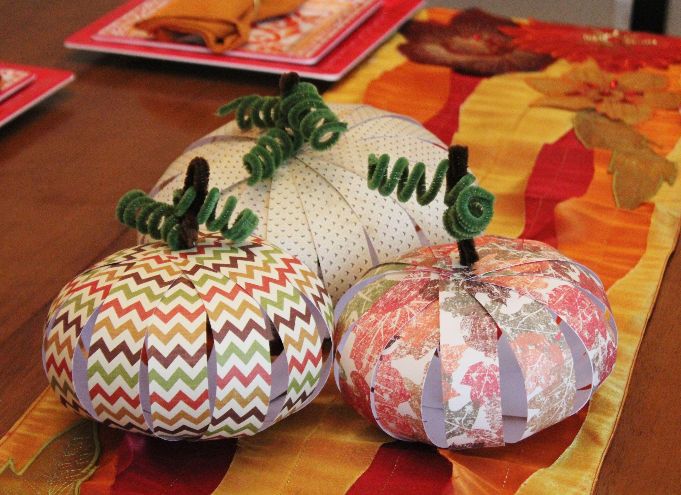 Thanksgiving centerpieces paper pumpkin craft for kids
