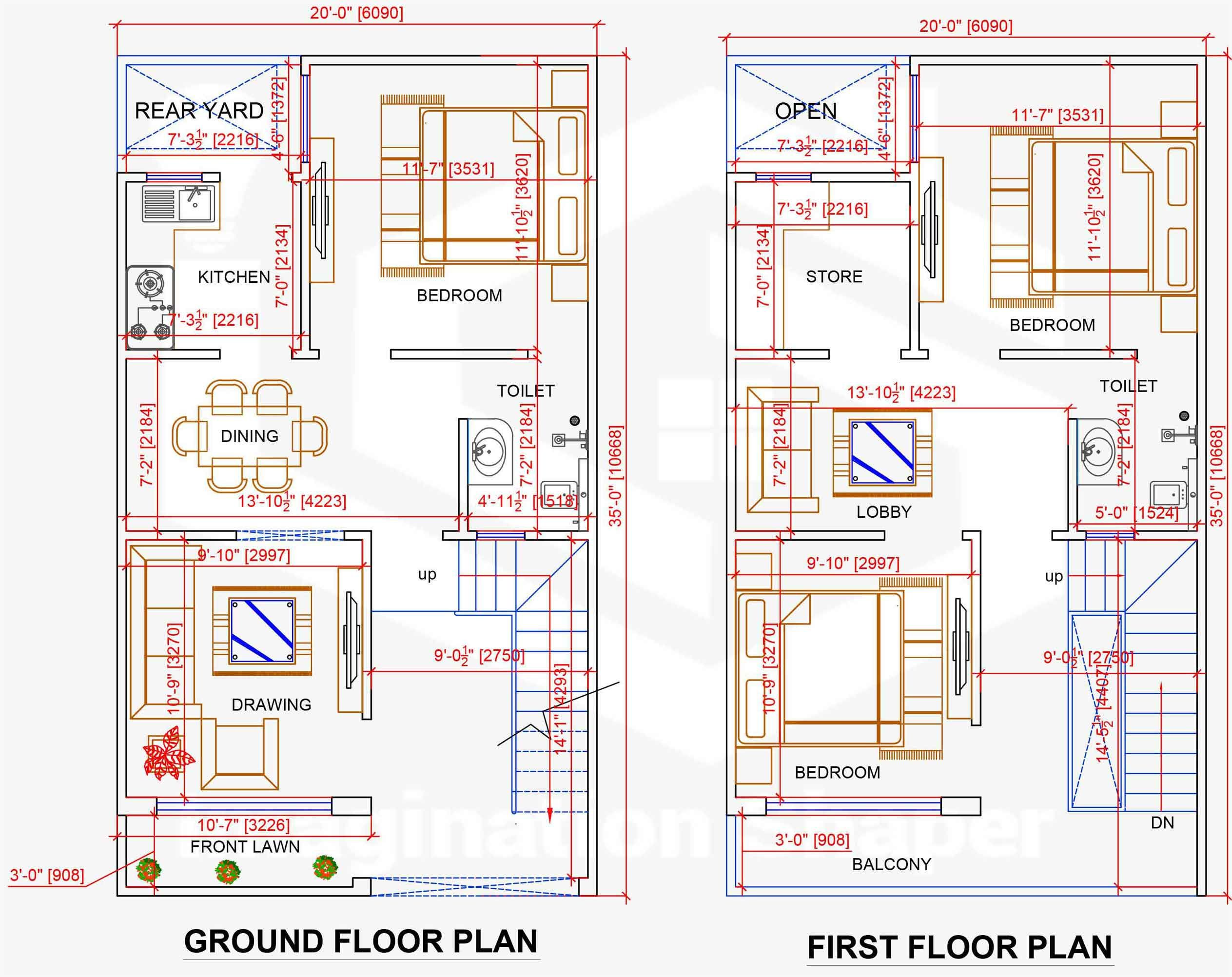 20x35 Home Plan House Map Model House Plan House Plans