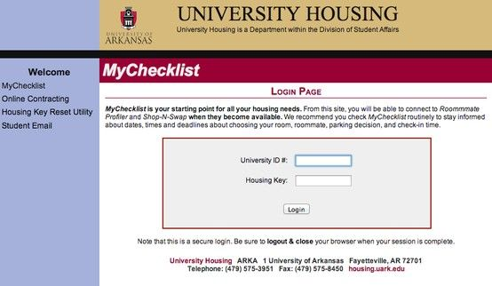 You Of A Has A Portal For Everything You Need To Remember For Move In Ua4student University Housing Page Online House Keys