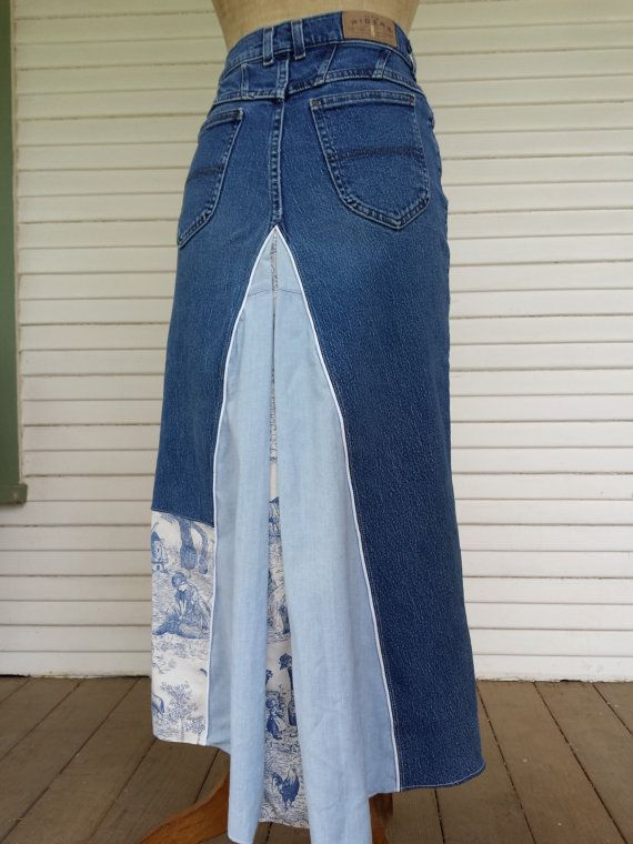 Re-enJEANeered and Upcycled Denim Skirt by OneofAKindDezignz