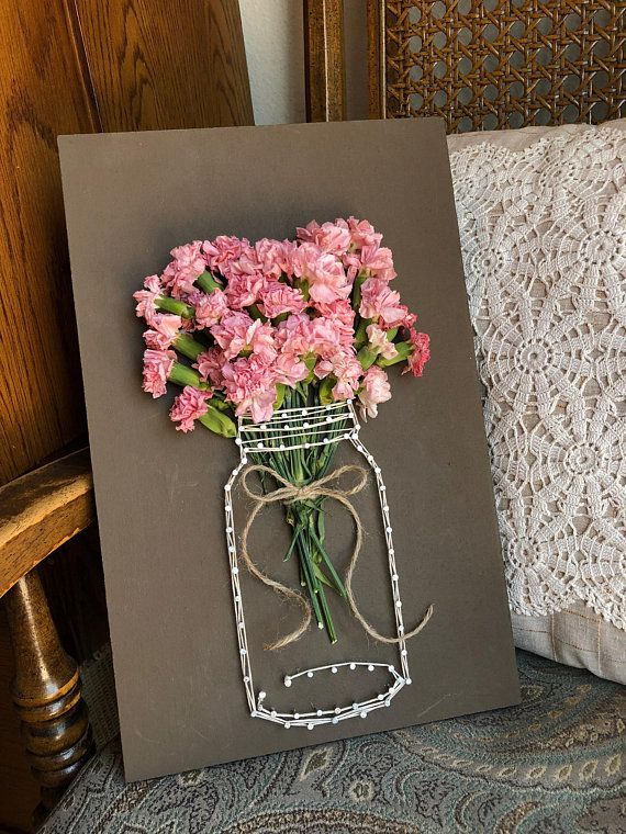 Dried Carnation Jar String Art