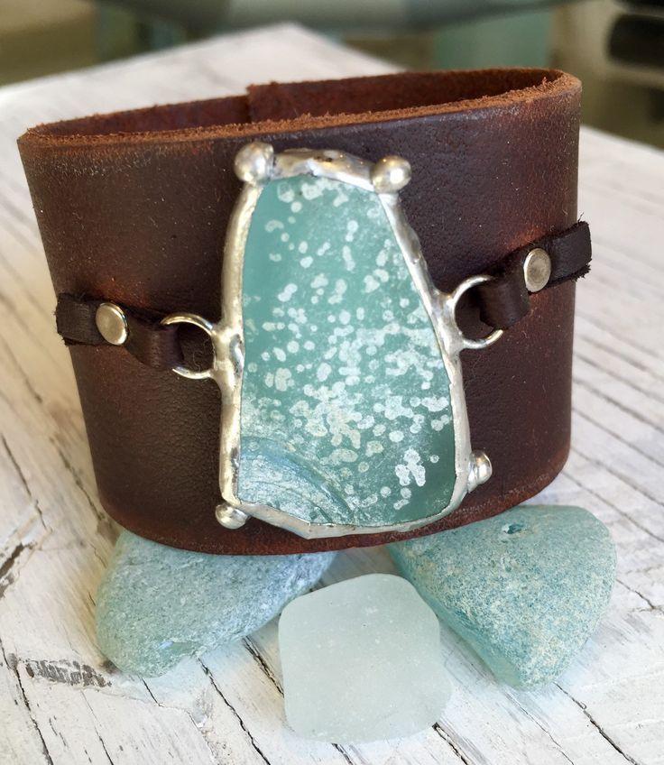 Leather Sea Glass Cuff Rustic Brown Bohemian Jewelry