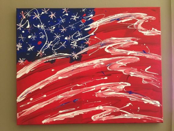 American Flag Canvas Wall Art Painting By Dreamercreations On Etsy 125 00