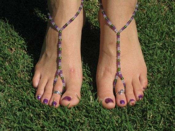 purple and green barefoot sandals