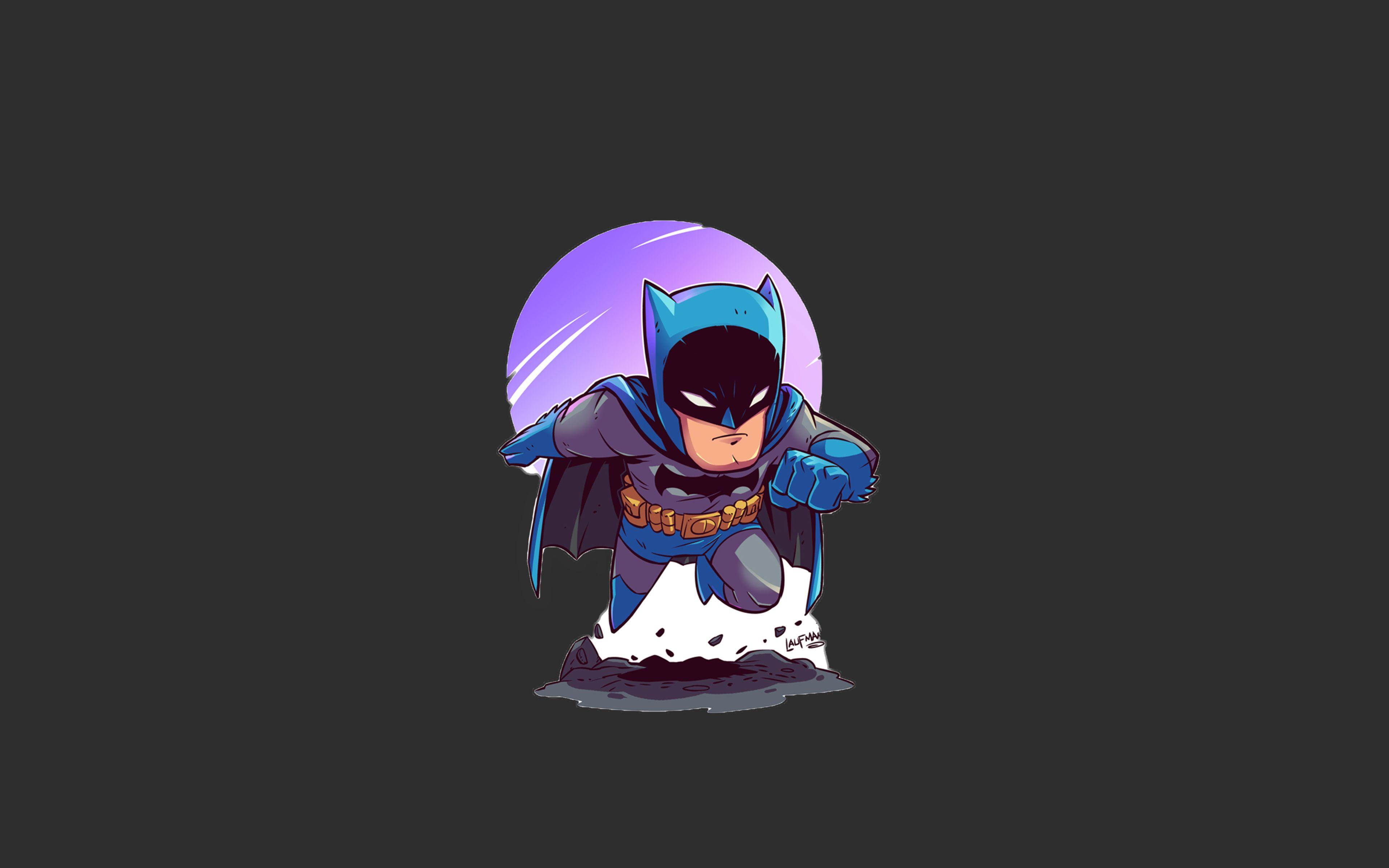 Batman, 4k, Superhéroes, Mínimo, Fondo Gris