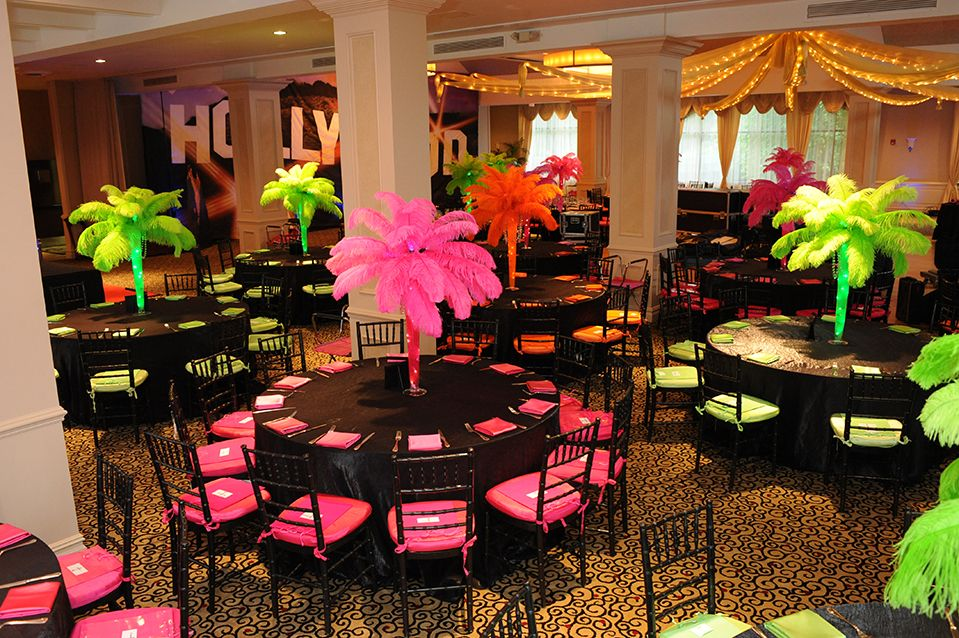 Hollywood Themed Bat Mitzvah with Feather Palm Tree Centerpieces at  Edgewood Country Club, NJ - Hollywood Themed Bat Mitzvah With Feather Palm Tree Centerpieces