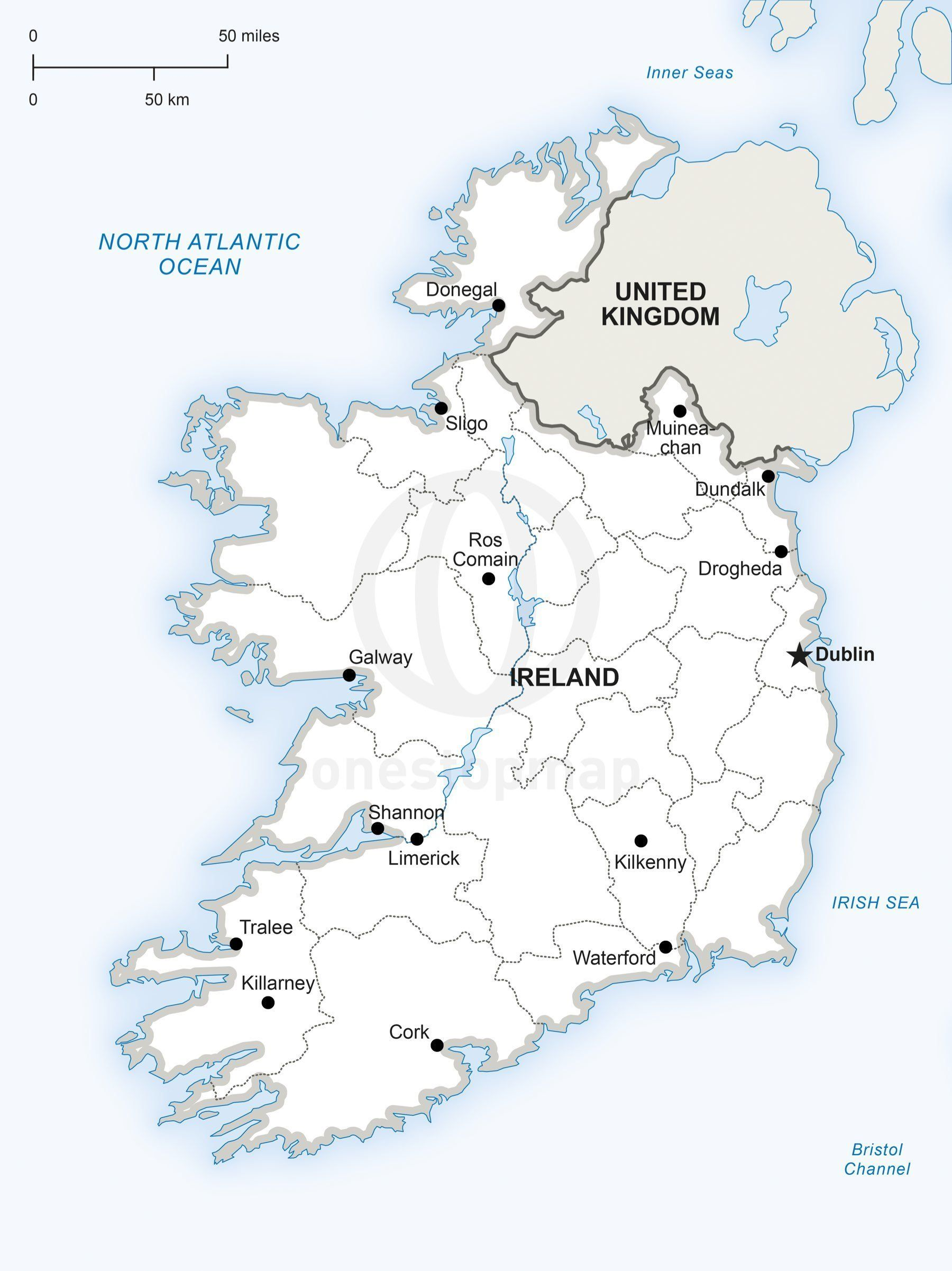 Vector Map Of Ireland Political Adobe Illustrator And Ireland - Cities map of ireland